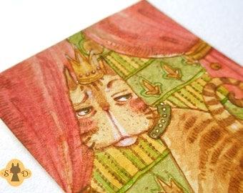 Original ACEO art - King Cat - tabby cat on pillow - royal feline - animal painting