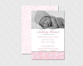 Pristine Pink Birth Announcement