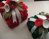 Handmade Red and Green Felt Christmas Gifts (Set of 2)