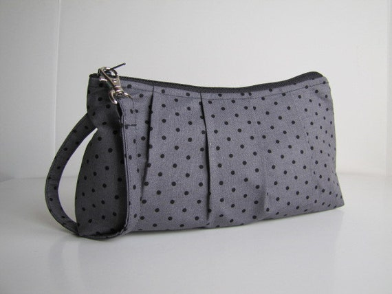 Pleated Wristlet Zipper Pouch / Bridesmaid Gift  - Grey Petite Dot