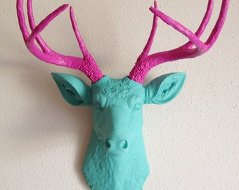 Teal & Pink Deer Head Wall Mount