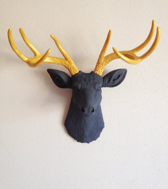 Charcoal and Gold Deer Head Wall Mount