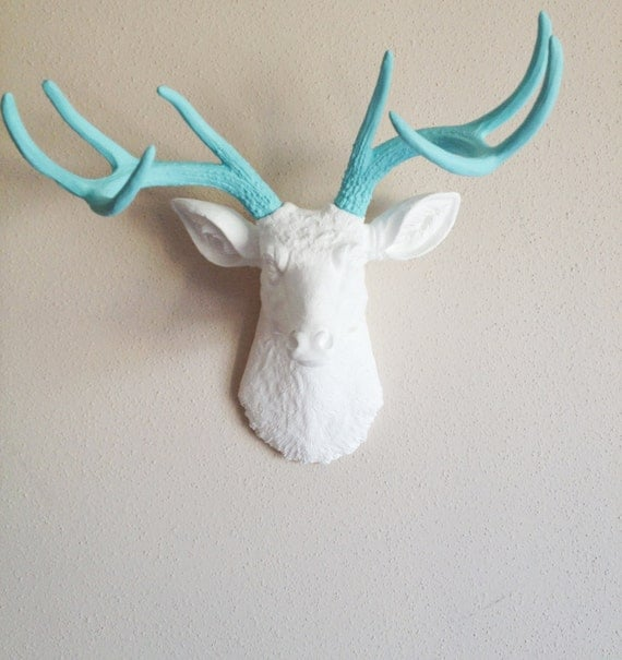 White and Robins Egg Blue Deer Head Wall Mount