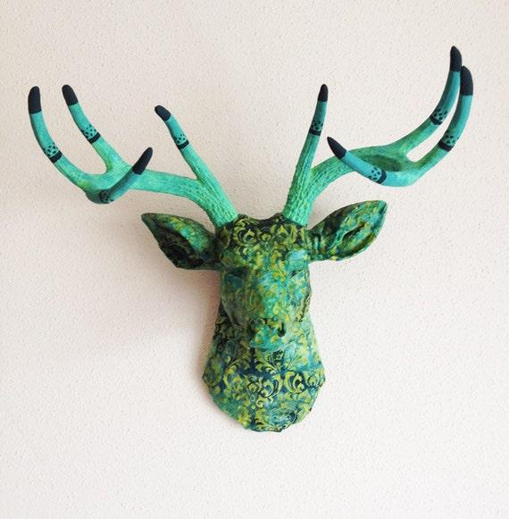 LIMITED EDITION Dharma Green Batik Deer Head Wall Mount