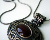Antique Silver necklace with red stone pendant