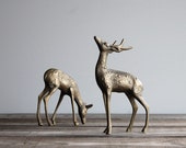 Vintage Brass Deer Figurine Pair