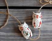 Vintage Ceramic Owl Beads, Set of 2