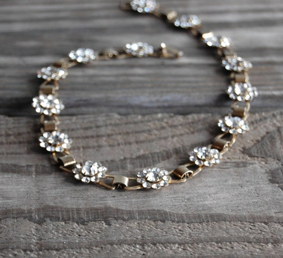 1950s Rhinestone Flower Choker // Vintage Necklace // Floral Chain