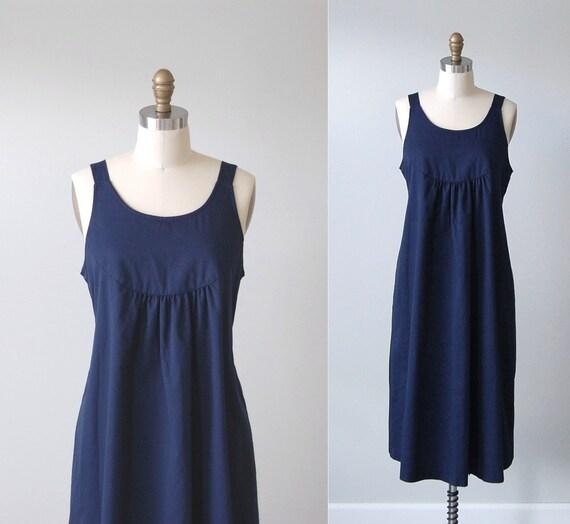 Vintage Day Dress / Navy Blue Empire Waist Tie-Back Jumper