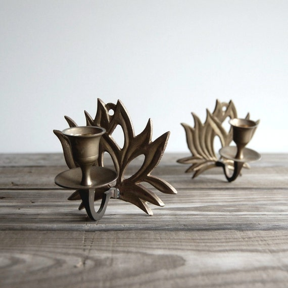 Lotus Flower Sconce Pair / Vintage Candle Holders