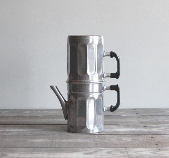 Neapolitan Flip Coffee Pot ~ Vintage espresso pot two tier aluminum italian