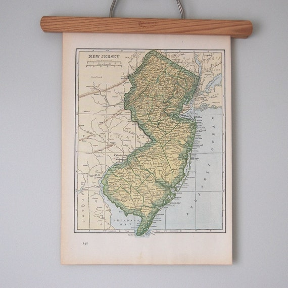 Antique 1940s State Maps of New Jersey, New Hampshire, and Vermont