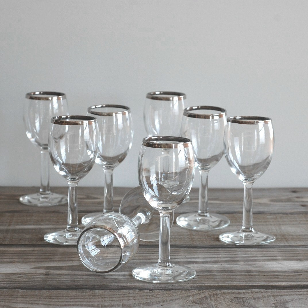 Silver rimmed wine glasses set of eight by reclaimer on etsy - Wine glasses with thick stems ...