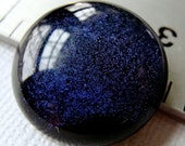 Fused Dichroic Glass Cabochon 18 mm Iridescent Purple Gothic