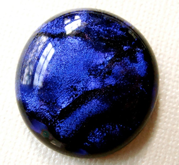 Fused Dichroic Glass Cabochon 25 mm Purple Ripples