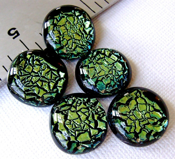 Fused Dichroic Glass Cabochons 16 to 17 mm Emerald Set of 5