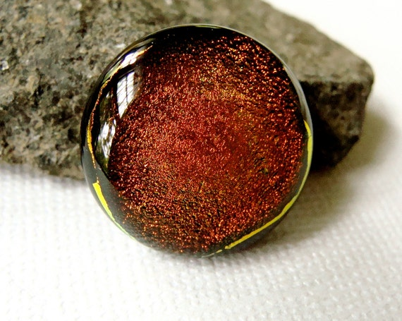 Dichroic Glass Cabochon 17 mm Golden Beauty