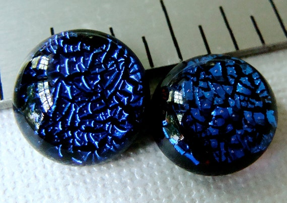 Dichroic Glass Cabochons 13 mm Set of 2 Blue Sparkle