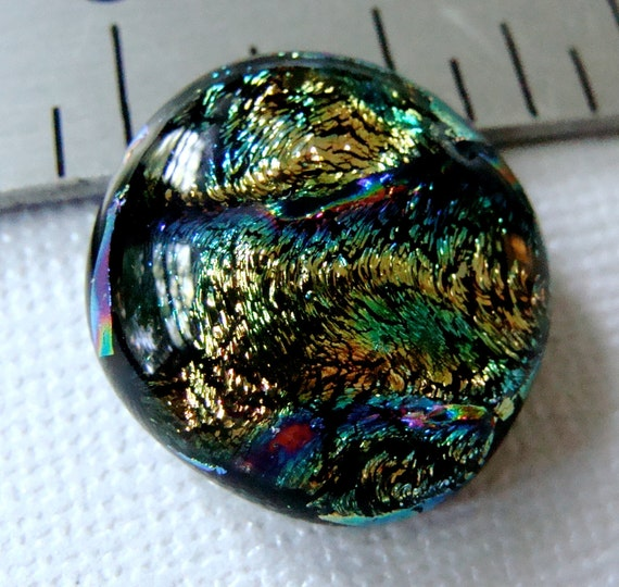 Fused Dichroic Glass Cabochon 19 mm Square Gold Swirl