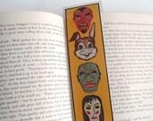Retro Halloween Masks Laminated Bookmark