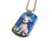 SALE - Starry Night Puppy Dog Tag Necklace