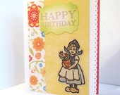 Dutch Girl and Tulips Birthday Card
