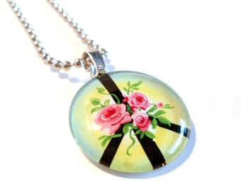 Pink Roses and Peace Symbol Pendant