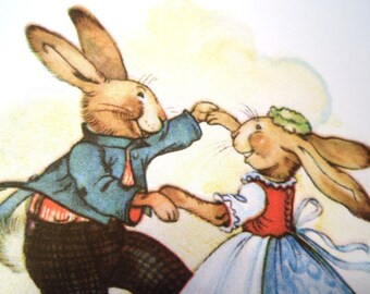 Dancing Rabbits Vintage Easter Card Reproduction