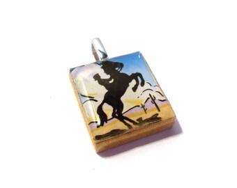 Bronco Riding Cowgirl Scrabble Tile Pendant