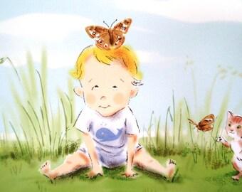 Babies and Butterflies Signed Nursery Art Print