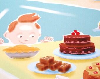 Delicious Desserts Cute Nursery Art Print of Original Illustration