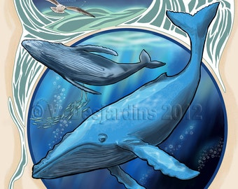 ACEO Print Celestial Creatures - Cetus the Humpback Whale