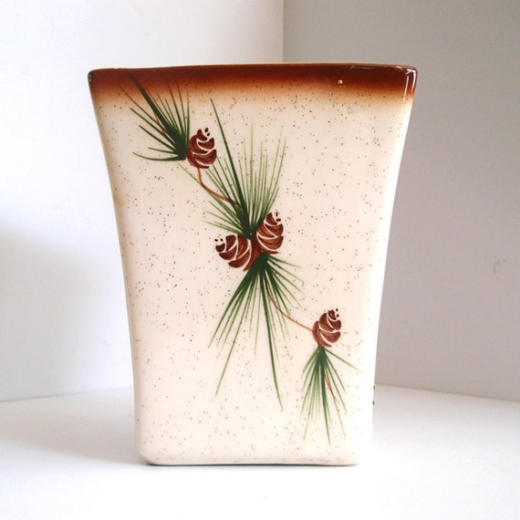 Vintage Rocky Mountain Pottery Pine Cone Vase With Label By Vpauld