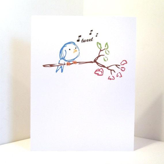 Sweet Blue Bird Blank Tweet Card