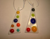 White with Dots Glass Ornament