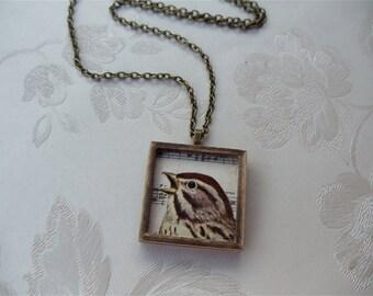 Singing Bird Necklace, Handmade Wooden Frame, Vintage Bird Photo, Nature Jewellry