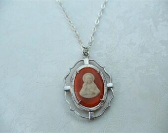 Religious Jewellry, Faith Necklace, Oval Shape, Orange Resin, Vintage Medallion, Italy
