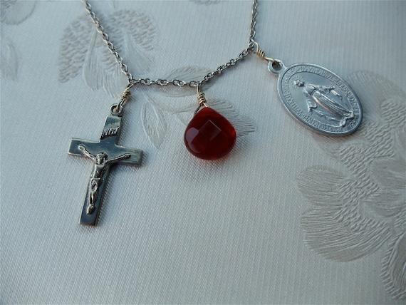 Cross, Medallion, Red Glass Stone, Faith Necklace