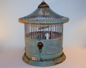 Antique Bird Cage Metal Wire Shabby Cottage Chic Sage Green Rustic