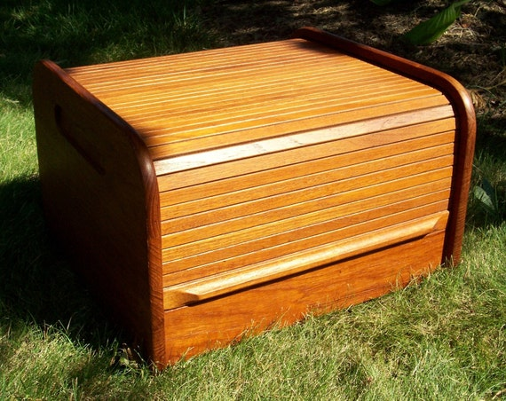 Vintage Teak Wood Roll Top Desk Organizer Danish Modern