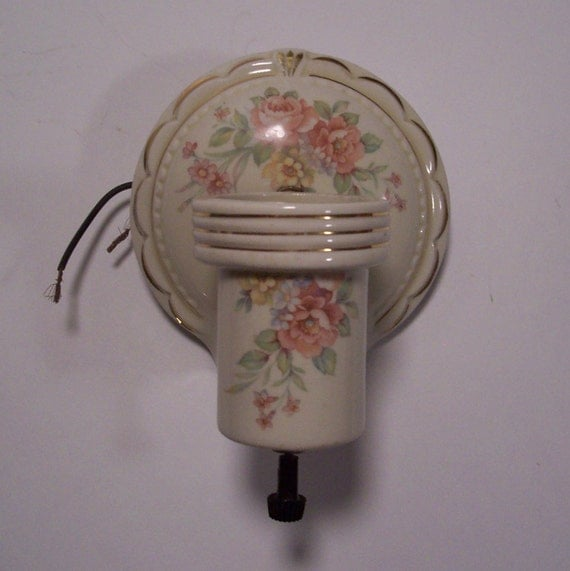 Vintage Ceramic Wall Lights : Vintage Floral Porcelain Light Fixture Wall Sconce