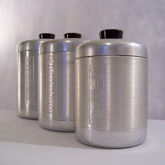 Vintage aluminum canister set 50s mid century kitchen decor for Kitchen set aluminium royal