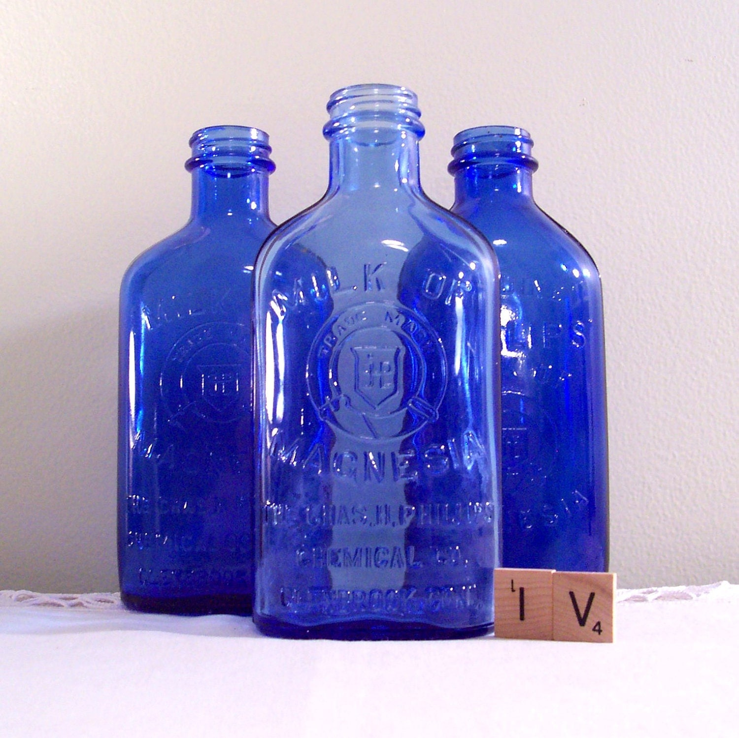 Vintage phillips cobalt blue glass bottle milk of magnesia - Cobalt blue bathroom accessories ...