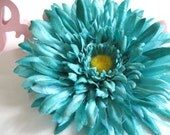 CLEARANCE Teal Gerber Daisy Hair Clip with Natural or  Rhinestone Center--Add a headband for only 1 dollar more