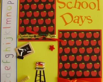 School Days Memories Premade Scrapbook Pages (2) 12x12