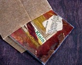 Mixed Media ACEO Original - Red and Mustard Yellow Vintage Industrial Style Mini Collage in Kraft Envelope- The Anarchist Cafe (No. 5)