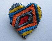 Rectangular Heart - Hand Embroidered Brooch