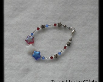 Boutique Bracelet...Custom...Red White Blue Stars