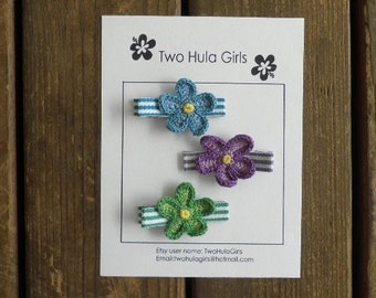 Boutique Clippies ...   Set of 3 Alligator Clips ...   Crochet Flowers