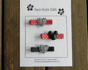 Boutique Clippies ...   Set of 3 Alligator Clips ...   Mickey Gingham